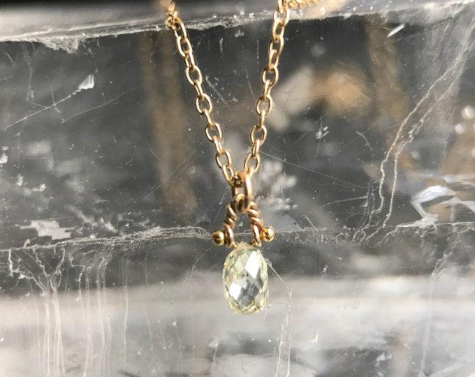 Twisted Diamond Briolette Solitaire Necklace