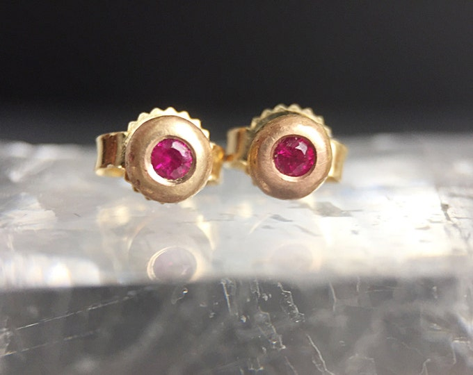 Gold Ruby Pebble Stud Earrings
