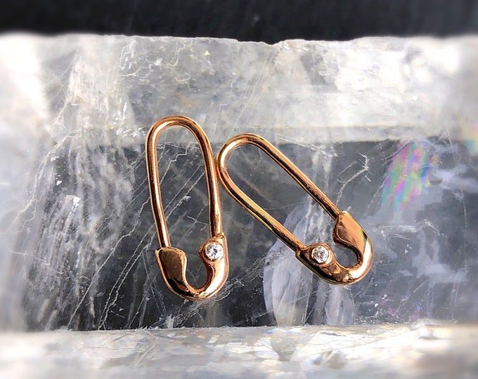 14 Karat Rose Gold Mini Diamond Safety Pin Earrings (Single)