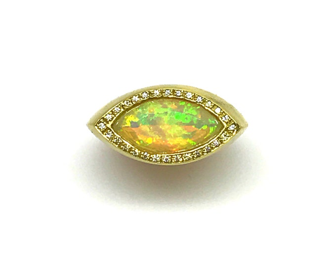 Gold Opal and Diamond Lotus Ring