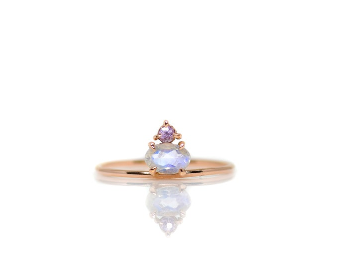 Gold Moonstone and Sapphire Ring