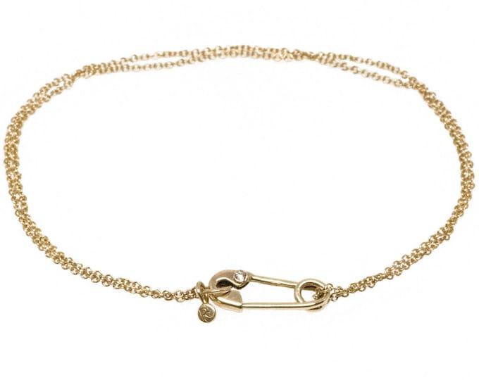 Gold and Diamond Safety Pin Bracelet