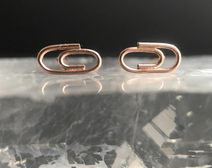 Gold Baby Paperclip Studs