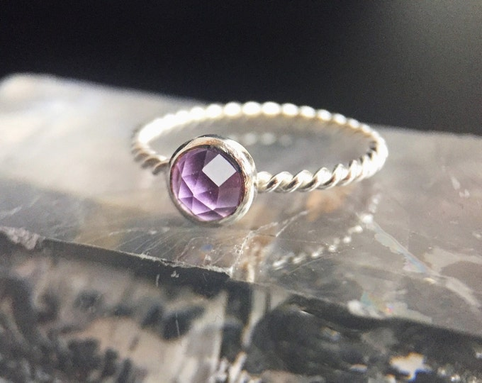 Rose Cut Lavender Amethyst Sterling Silver Hand Twisted Rope Solitaire Ring