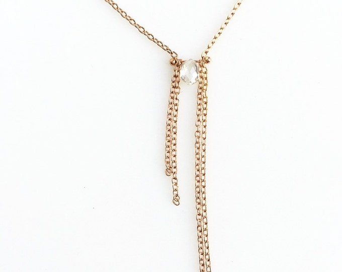 Rose Gold Asymmetrical Fringe Diamond Necklace