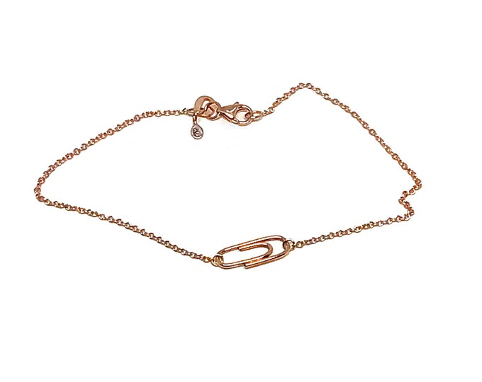 Rose Gold Mini Paperclip Charm Bracelet