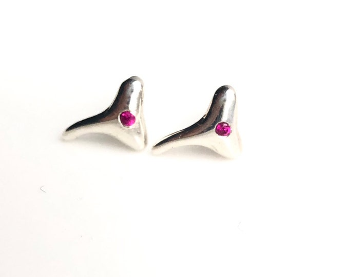 Sterling Silver and Pink Sapphire Shark Tooth Studs