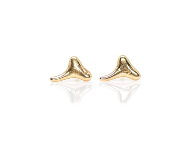 Gold Shark Tooth Studs