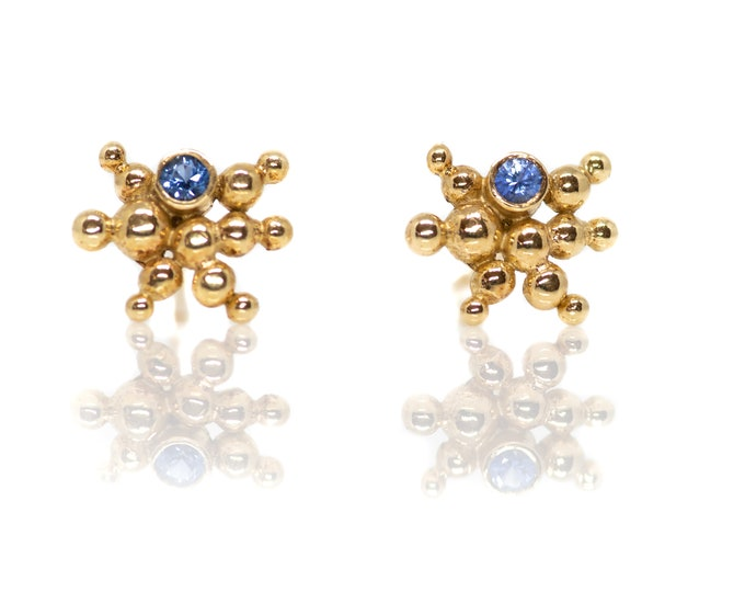 Yellow Gold and Sapphire Caviar Starburst Studs