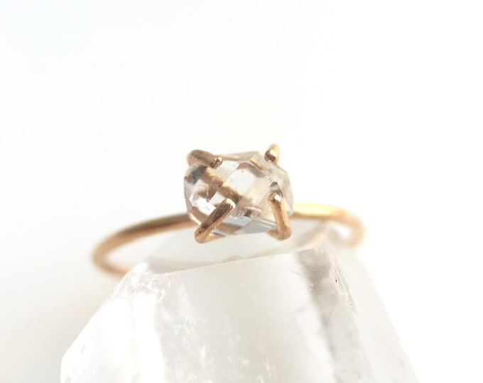 Gold Herkimer Quartz Ring