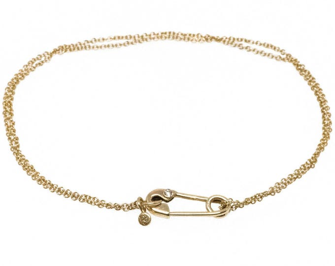 Gold and Diamond Safety Pin Bracelet