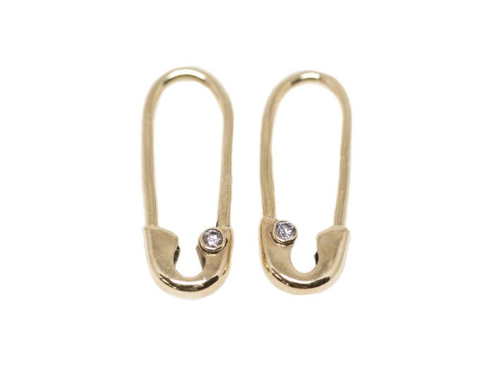 Mini Gold Diamond Safety Pin Earrings (Pair)