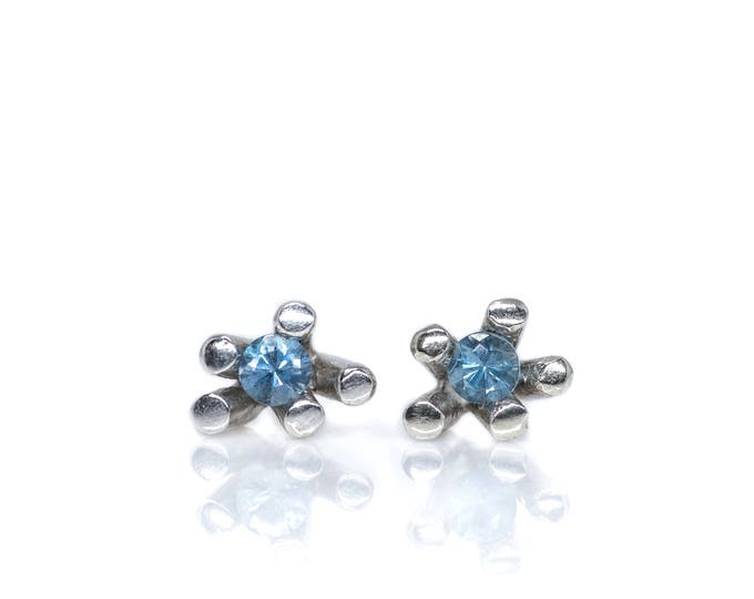 Silver Sticks and Stones Aquamarine Studs