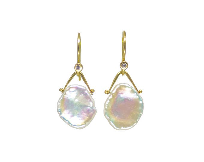 Gold Keshi Pearl and Diamond Earrings
