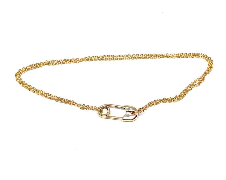 Solid 14 Karat Gold Safety Pin Bracelet
