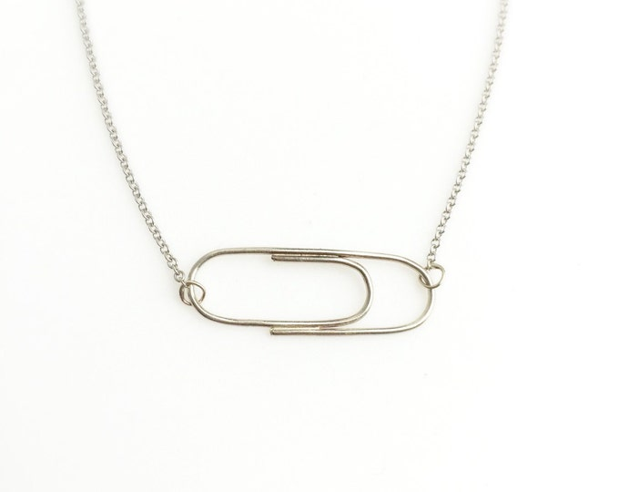 Solid 14 Karat White Golden Paperclip Necklace