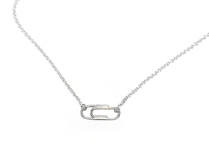 Silver Mini Paperclip Necklace