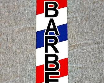 Metal Sign BARBER shop barbershop pole hair stylist cut chair hairdresser stripes man cave wall plaque