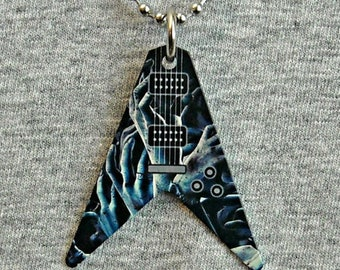 Metal Necklace V GUITAR body shape electric ZOMBIE hands undead walking dead horror gore guitarist zombies pendant charm shaped