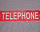 Metal Sign TELEPHONE public pay coin vintage replica phone booth prop rotary push button garage man cave wall plaque 3 red