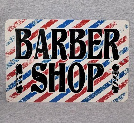 Metall Zeichen Barber Shop Barbershop Pol Friseur Stuhl Friseur Streifen Geschnitten Aluminium 8 X 12 Garage Mann Hohle Wand Plakette