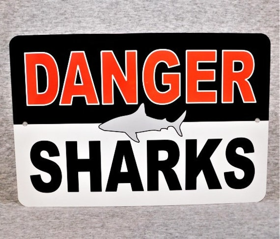 "Beware of Sharks Aluminum Animal Sign and Sticker Warning 12/"" x 3/"""