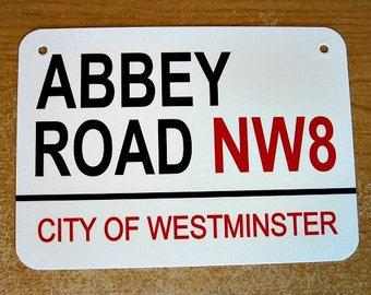 Metal Sign ABBEY ROAD City of Westminster London England studios landmark street wall hanging man cave decor