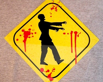 Metal Sign ZOMBIE crossing zombies undead walking dead horror bloody ghouls kids room wall decor man cave garage