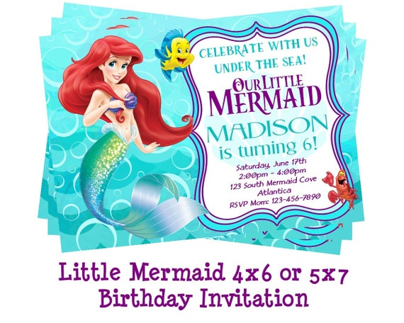 Disney Little Mermaid Invitation Mermaid Party Ariel Etsy