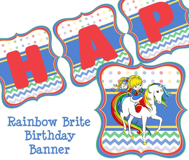 Rainbow Brite Birthday Banner Party