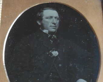 Antique Ambrotype Photograph, Well Dressed Handsome Man with Sideburns, Lapel Flower, 1/6 Plate, Gold Oval Mat