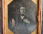John Plumbe, Jr. Daguerreotype Photograph of Seated Man with Chin Beard Striped Trousers 1 6th Plate