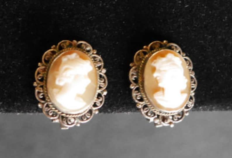 8d460a13756b9 Vintage Cameo Earrings, 800 Silver Clip On Carved Shell Victorian Steampunk  Jewelry