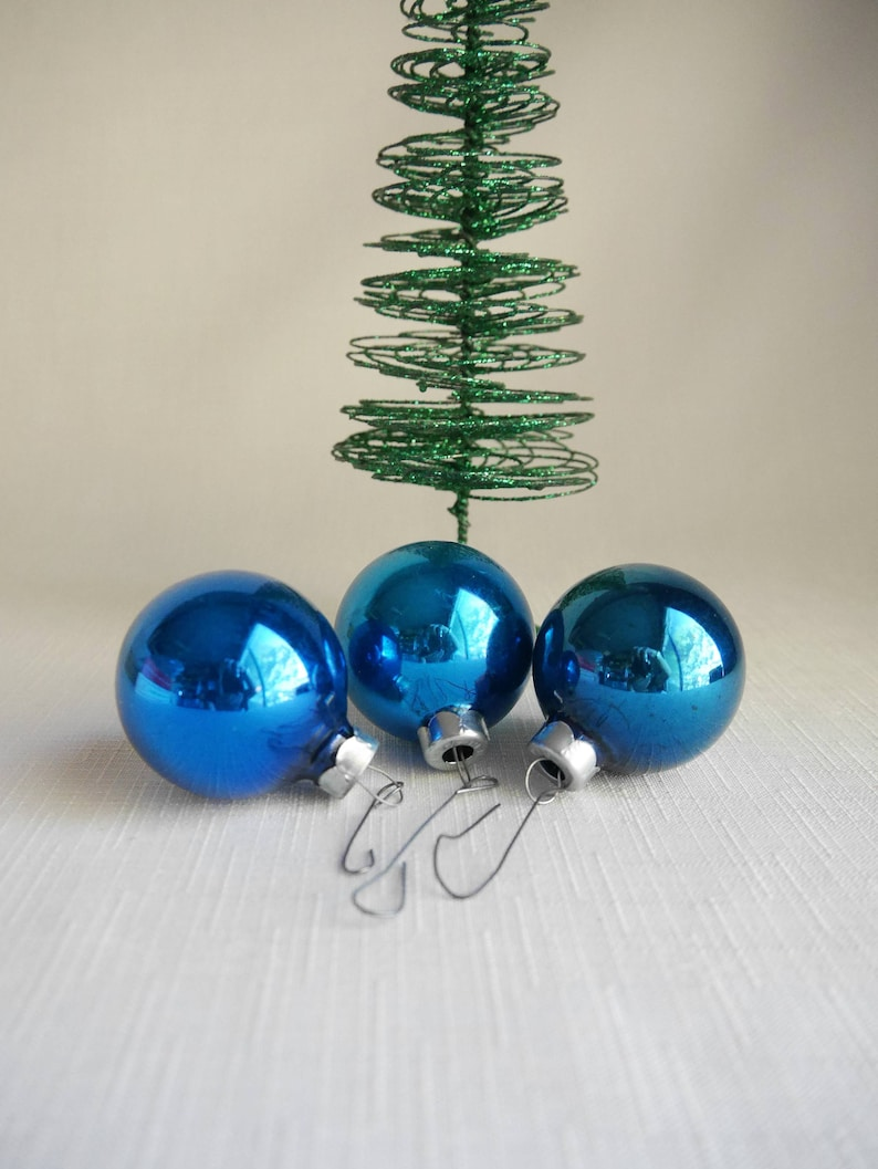 Vintage Blue Mercury Glass Christmas Ornaments 2 Round Blue Bulbs With Silver Caps Made In Usa Set Of 3