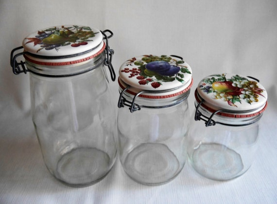 Vintage Carlton Glass Storage Canning Jars Decorative Ceramic Etsy Extraordinary Decorative Lids For Canning Jars
