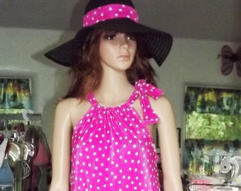Beach Coverup Sun Dress Rose Pink With White Polka Dots  With Matching Beach Hat Hand Made
