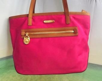 3c1d5120d517 Michael Kors Canvas Handbag With Tan Leather Shoulder Straps Purse Tote
