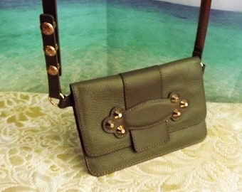 Michael Kors Small Green Leather Waist Crossbody Shoulder Bag Purse 1eca170c82d45