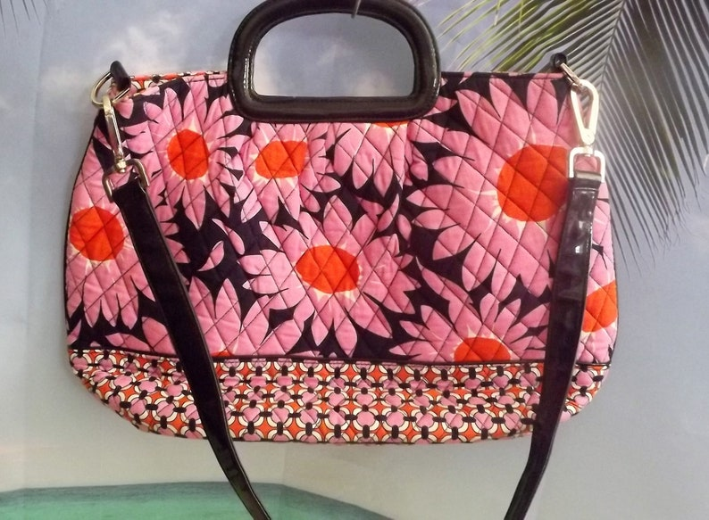 42d32679b62c Vera Bradley Large Quilted Pink And Black Sunflower Floral