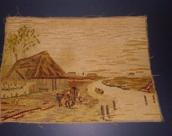 "Very old  hand made  Needlepoint Petitpoint - Treasure  of the past  14.5 ""x 10.25 """