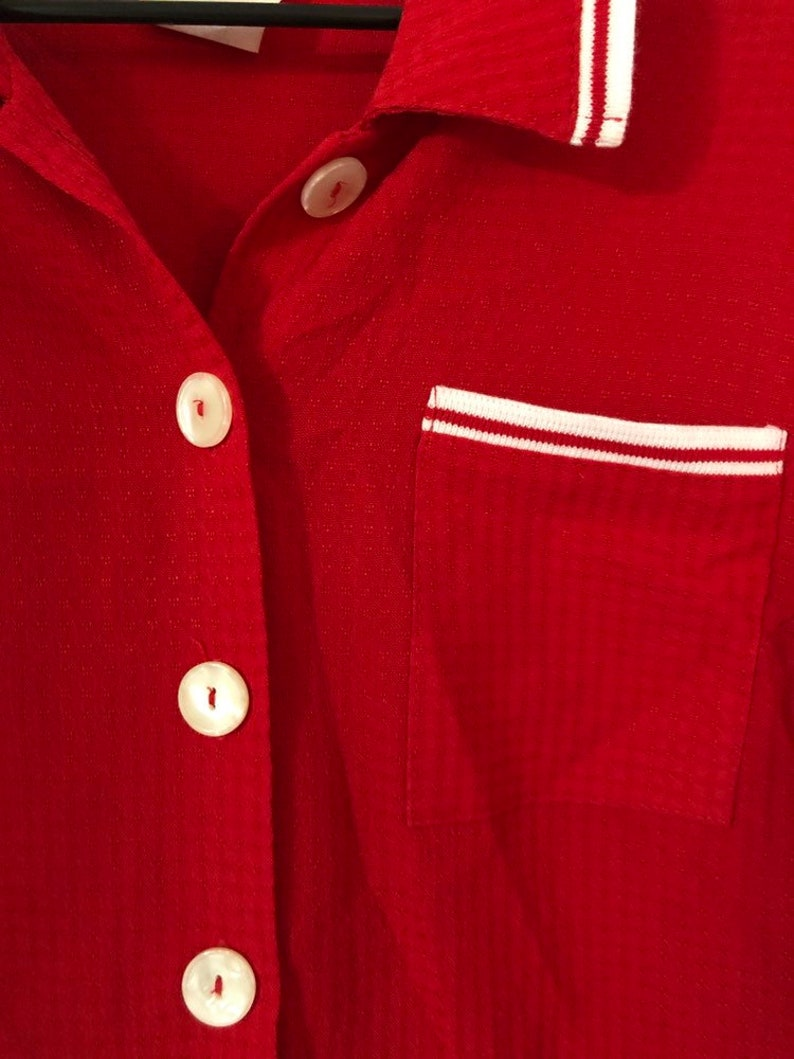 1980s red button down shirt