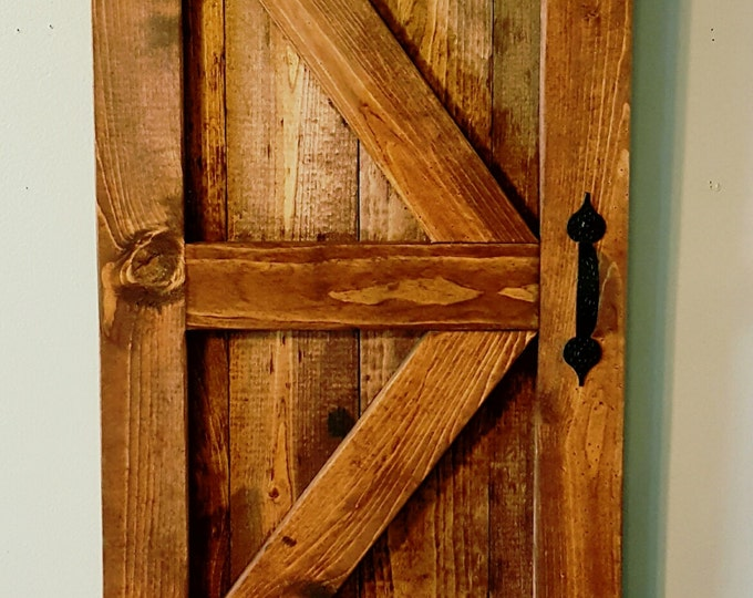Featured listing image: Mini Barn Door, Farmhouse Decor, Country Wall Hanging, Handmade, Wooden, Rustic, Stained
