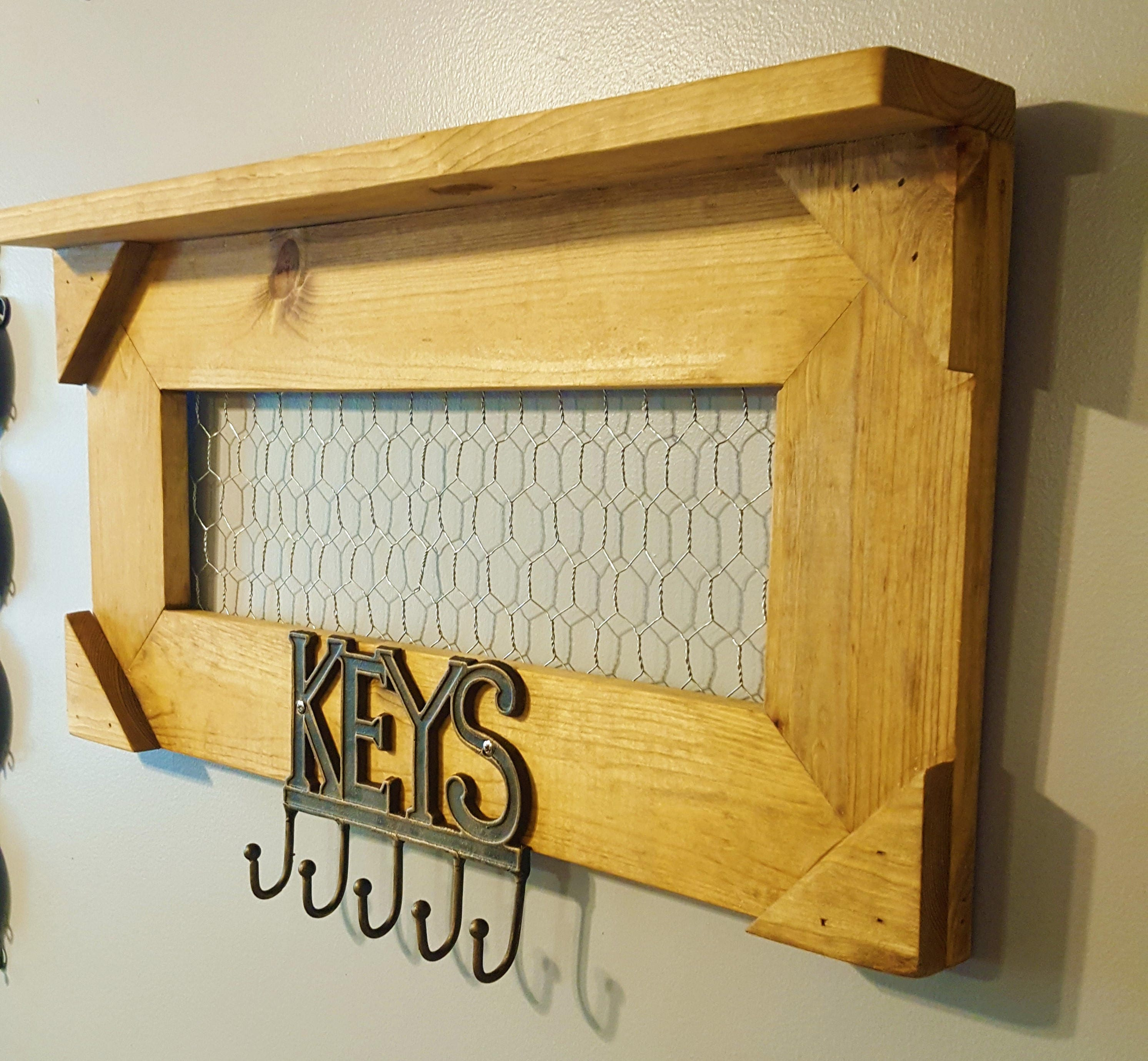 Farmhouse Shelf Hooks, Wall Decor, Rustic Wooden Display, Handmade ...