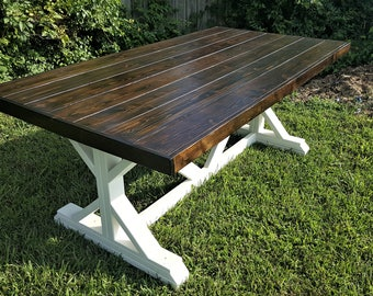 Farmhouse Table, Fancy X, Trestle Leg, Handmade, Solid Wood, Kitchen and Dining Room Furniture, Family Gathering, Country, Rustic