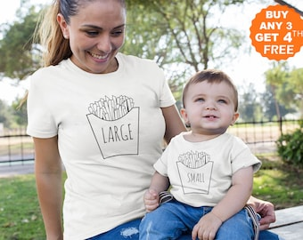 9fa7056c8a35f2 Mommy and Me Family Matching Shirts Kid Baby Boy Mom and me Clothing Funny  Large and Small Chips Toddler T-Shirt