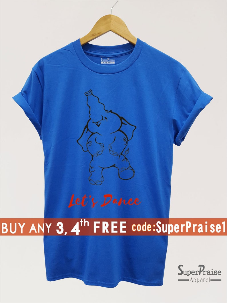 bb3e627bd Let s Dance Elephant Graphics Steps Slogan Funny T-Shirt