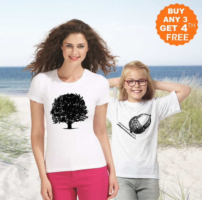 e6410a5dd3b33c Acorn Oak Tree Mommy and Me Outfits Family Matching T-Shirt