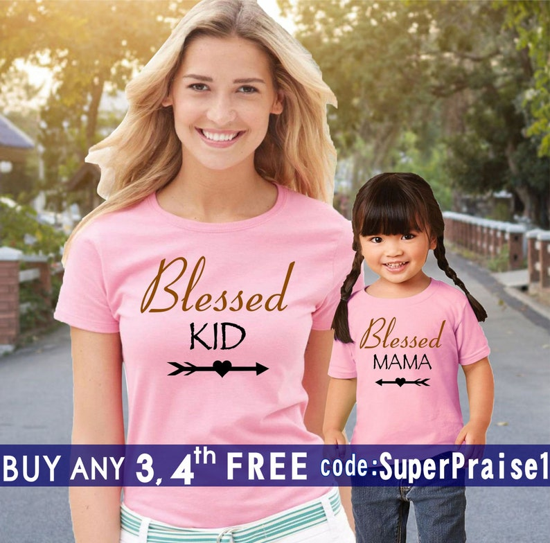 11c1fb418aa Blessed Mama and Kid Mommy and Me Shirts Mommy Me Clothing Mama Religious  Mom Son Daughter Family Matching Shirts