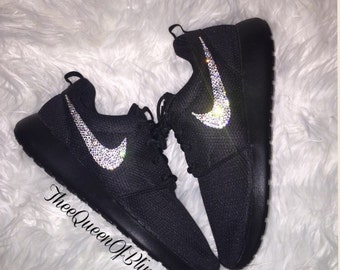 3d9904572 ... low cost black nike roshe run with bling roshe run bling womens nikes  with crystals 27c6f