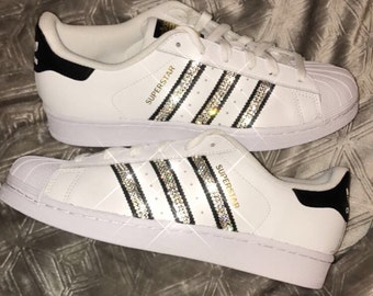 Details about Adidas Superstar Shoes with Silver Glitter and Studded Silver show original title